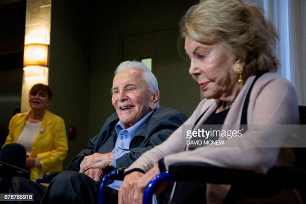 Actor Kirk Douglas 100 years old and wife Anne celebrate the 25th Anniversary of the Anne Douglas Center for Women at the Los Angeles Mission on Skid...