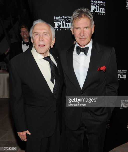 Actor Kirk Douglas and actor Harrison Ford arrive at SBIFF's 5th Annual Kirk Douglas Award For Excellence In Film Ceremony at The Four Seasons...
