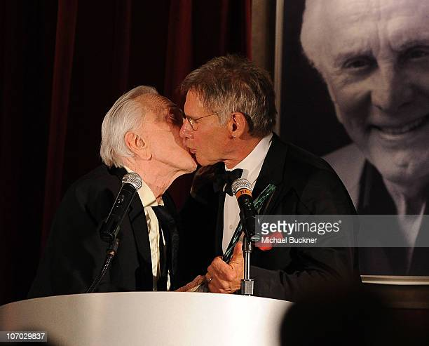 Actor Kirk Douglas and actor Harrison Ford attend the Santa Barbara International Film Festival's 5th Annual Kirk Douglas' Excellence In Film Awards...