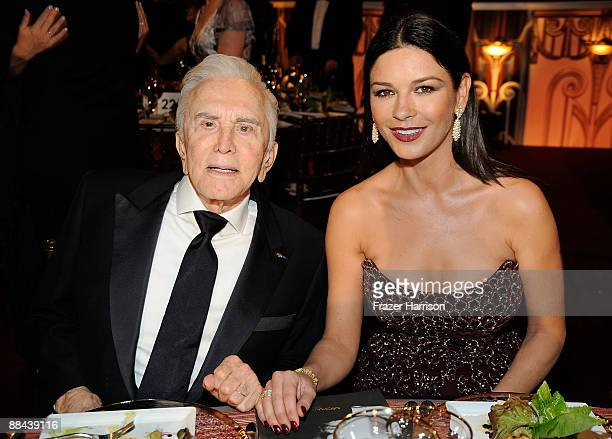 Actor Kirk Douglas and actress Catherine ZetaJones during the AFI Lifetime Achievement Award A Tribute to Michael Douglas held at Sony Pictures...
