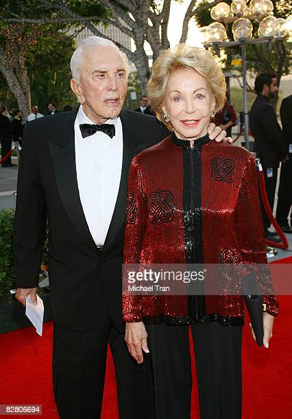 Actor Kirk Douglas and Anne Buydens arrive to the starstudded gala for the reopening of the Mark Taper Forum hosted by Dame Edna on September 13 2008...