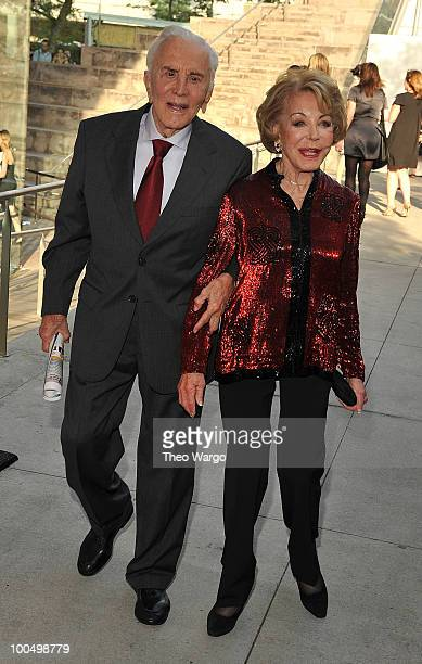 Actor Kirk Douglas and Anne Buydens Douglas attend the The Film Society of Lincoln Center's 37th Annual Chaplin Award gala at Alice Tully Hall on May...