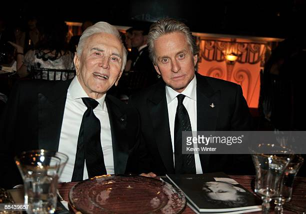 Actor Kirk Douglas and his son actor Michael Douglas in the audience at the AFI Lifetime Achievement Award A Tribute to Michael Douglas held at Sony...