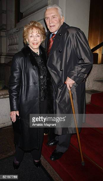 Actor Kirk Douglas and his wife Anne Buydens leave a midtown hotel for a Valentine's night dinner February 14 2005 in New York City