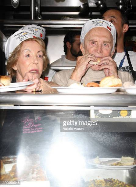 Actor Kirk Douglas and wife Anne attend the LA Mission And Anne Douglas Center's Thanksgiving Meal For The Homeless on November 26 2008 in Los...