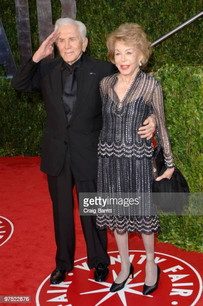 Actor Kirk Douglas and wife Anne Buydens arrive at the 2010 Vanity Fair Oscar Party hosted by Graydon Carter held at Sunset Tower on March 7 2010 in...