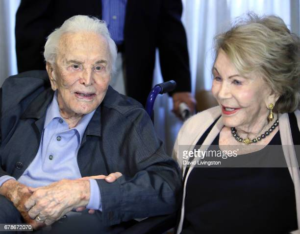 Actor Kirk Douglas and wife Anne Douglas attend the 25th anniversary celebration of the Anne Douglas Center at Los Angeles Mission on May 4 2017 in...