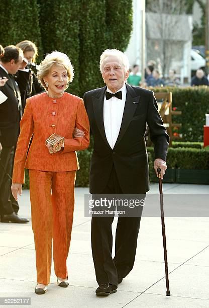 Actor Kirk Douglas and wife Diana Douglas arrive at the Vanity Fair Oscar Party at Mortons on February 27 2005 in West Hollywood California