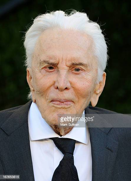 Actor Kirk Douglas arrives at the 2013 Vanity Fair Oscar Party at Sunset Tower on February 24 2013 in West Hollywood California