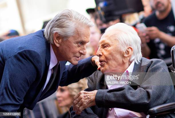 Actor Kirk Douglas attends a ceremony honoring his son actor Michael Douglas with a Star on Hollywood Walk of Fame, in Hollywood, California on...