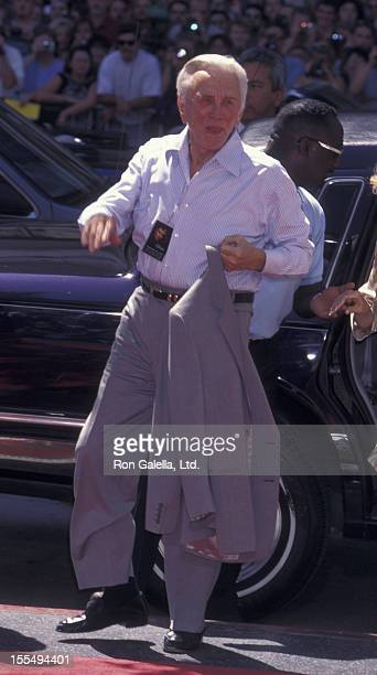 Actor Kirk Douglas attends Michael Douglas Hand And Footprint Ceremony on September 10 1997 at Mann Chinese Theater in Hollywood California
