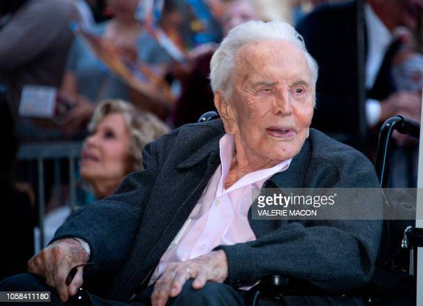 Actor Kirk Douglas attends the ceremony honoring his son actor Michael Douglas with a Star on Hollywood Walk of Fame, in Hollywood, California on...