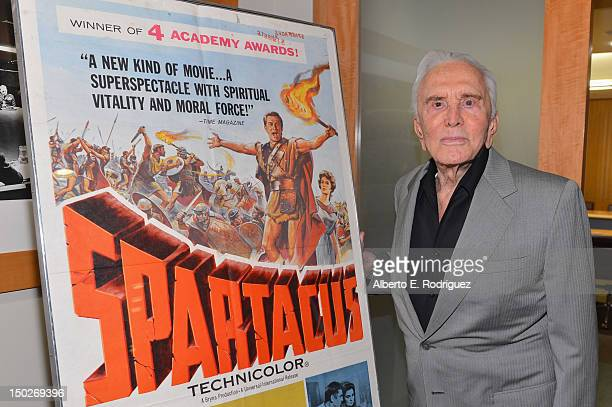 Actor Kirk Douglas attends the last 70mm film screening of Spartacus at AMPAS Samuel Goldwyn Theater on August 13 2012 in Beverly Hills California