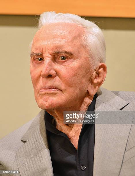 "Actor Kirk Douglas attends the last 70mm film screening of ""Spartacus"" at AMPAS Samuel Goldwyn Theater on August 13, 2012 in Beverly Hills,..."
