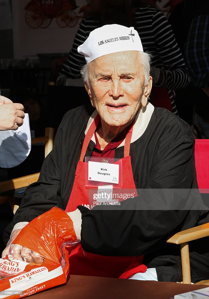 Actor Kirk Douglas attends the Los Angeles Mission Thanksgiving Dinner at Los Angeles Mission on November 21, 2012 in Los Angeles, California.
