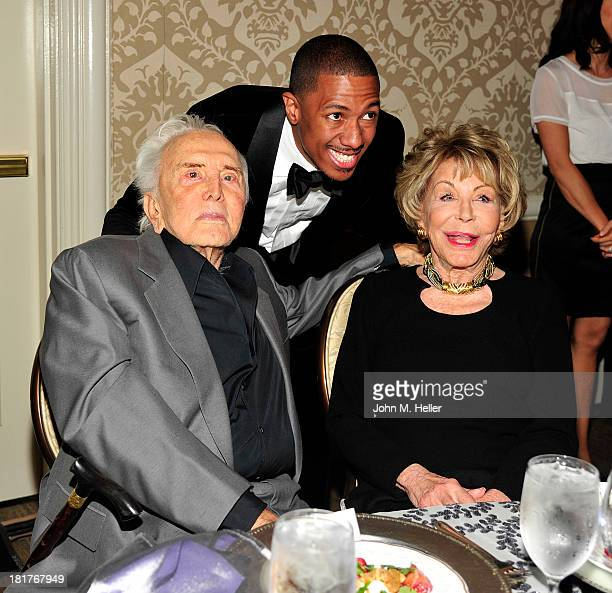 Actor Kirk Douglas Honoree/actor Nick Cannon and Anne Douglas attend the Los Angeles Mission's Legacy of Vision Gala at the Four Seasons Hotel...