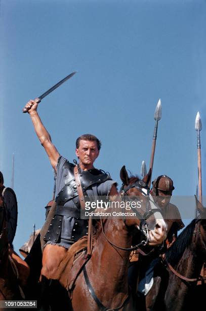"Actor Kirk Douglas on the set of the 1960 film ""Spartacus""."