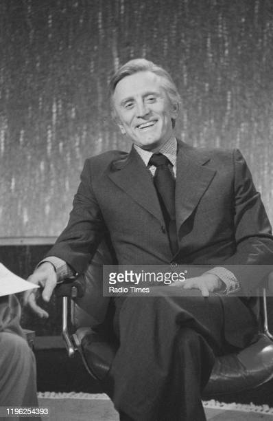Actor Kirk Douglas on the set of the BBC television chat show 'Parkinson', January 27th 1979.