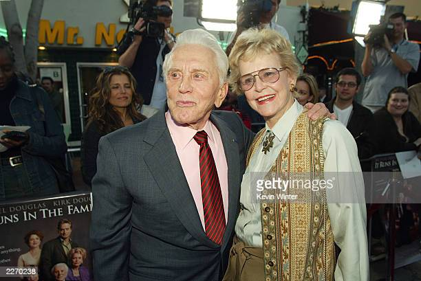 """Actor Kirk Douglas poses with actress and ex-wife Diana Douglas at the premiere of """"It Runs In The Family"""" at the Bruin Theater on April 7, 2003 in..."""