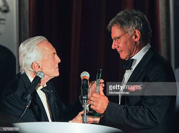 Actor Kirk Douglas presents actor Harrison Ford with the Kirk Douglas Award at SBIFF's 5th Annual Kirk Douglas Award For Excellence In Film Ceremony...