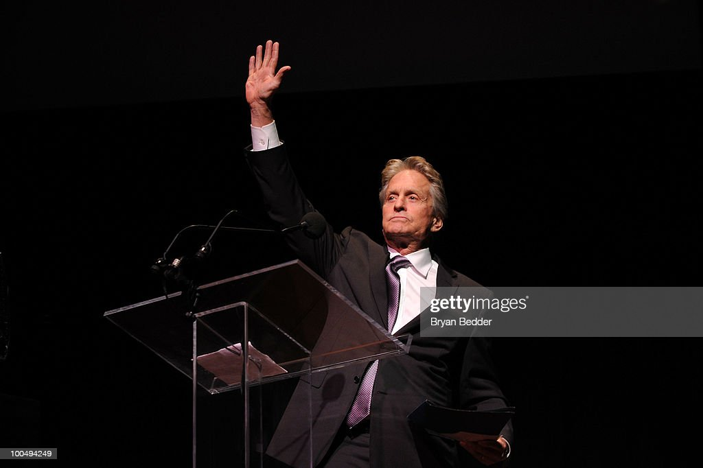 Actor Kirk Douglas waves onstage while being honored at the The Film Society of Lincoln Center's 37th Annual Chaplin Award gala at Alice Tully Hall on May 24, 2010 in New York City.