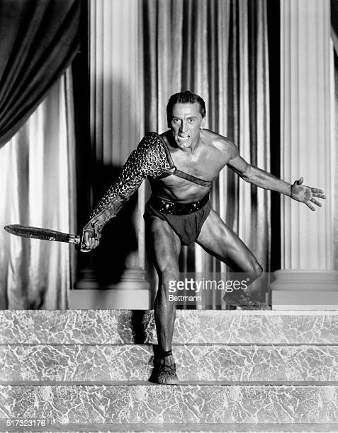 Actor Kirk Douglas wears a gladiator's costume in the title role of Spartacus