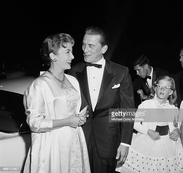 Actor Kirk Douglas with wife Anne Buydens attend the premiere of 'Lust for Life' in Los Angeles California