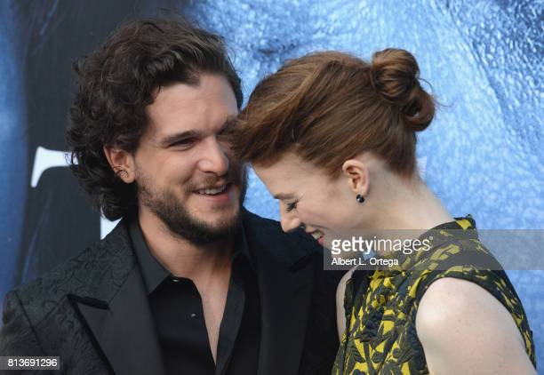Actor Kit Harington and actress Rose Leslie arrive for the Premiere Of HBO's Game Of Thrones Season 7 held at Walt Disney Concert Hall on July 12...