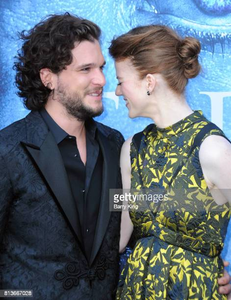 Actor Kit Harington and actress Rose Leslie attend the Premiere of HBO's 'Game Of Thrones' Season 7 at Walt Disney Concert Hall on July 12 2017 in...