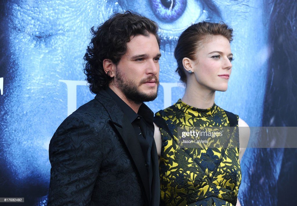 Actor Kit Harington and actress Rose Leslie attend the season 7 premiere of 'Game Of Thrones' at Walt Disney Concert Hall on July 12, 2017 in Los Angeles, California.