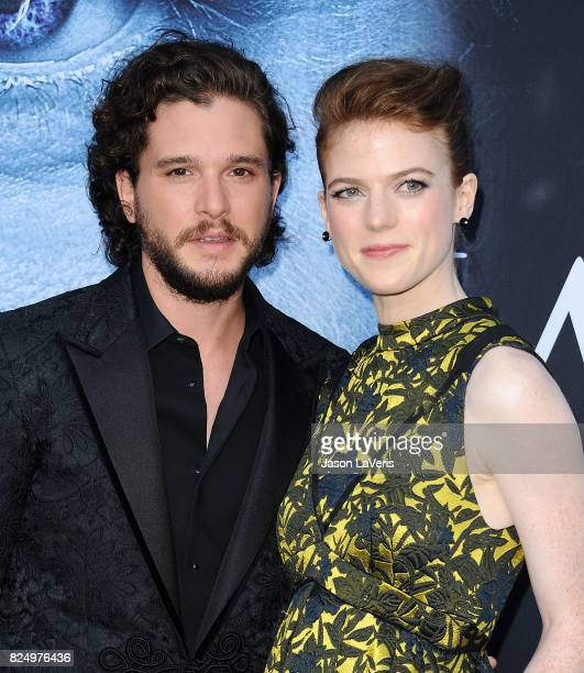 Actor Kit Harington and actress Rose Leslie attend the season 7 premiere of Game Of Thrones at Walt Disney Concert Hall on July 12 2017 in Los...