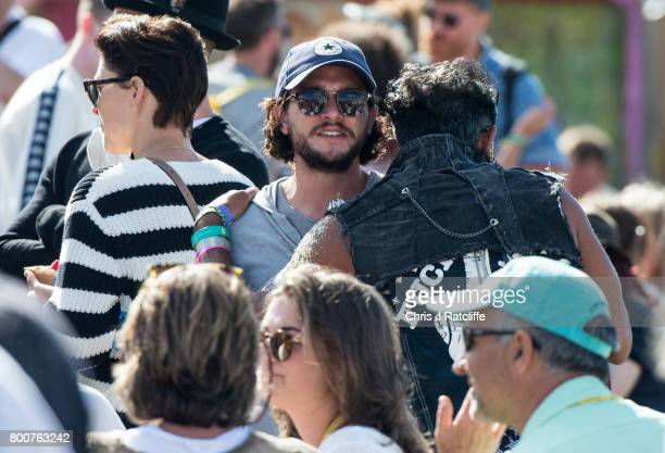 Actor Kit Harington who plays Jon Snow in Game of Thrones is seen at Glastonbury Festival Site on June 25 2017 in Glastonbury England Glastonbury...