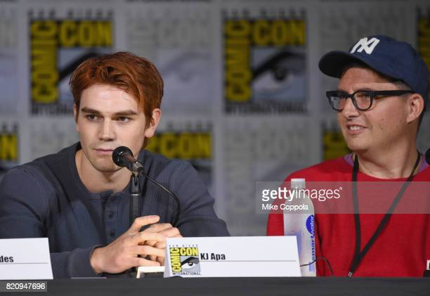 Actor KJ Apa and writer Roberto AguirreSacasa speak onstage at 'Riverdale' special video presentation and QA during ComicCon International 2017 at...