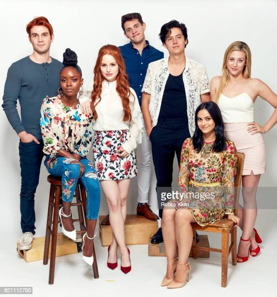 Actor KJ Apa Ashleigh Murray Madelaine Petsch Casey Cott Cole Sprouse Camila Mendes and Lili Reinhart from CW's 'Riverdale' pose for a portrait...