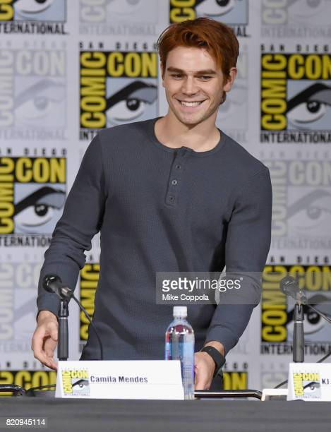 Actor KJ Apa onstage at 'Riverdale' special video presentation and QA during ComicCon International 2017 at San Diego Convention Center on July 22...