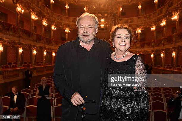Actor Klaus Maria Brandauer and Elisabeth Wicki-Endriss attend the Bernhard Wicki Award during the Munich Film Festival 2016 at Cuvilles Theatre on...