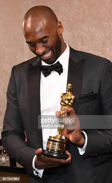 TOPSHOT US actor Kobe Bryant attends the 90th Annual Academy Awards Governors Ball at the Hollywood Highland Center on March 4 in Hollywood...
