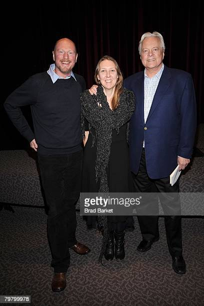 Actor Koen Van Impe Producer Anja Daelemans and Actor Robert Osborne pose for a photo at the Oscar nominated Shorts program luncheon at the DGA...