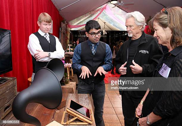 Actor Kris Kristofferson and Lisa Meyers attend the GRAMMY Gift Lounge during the 56th Grammy Awards at Staples Center on January 24 2014 in Los...
