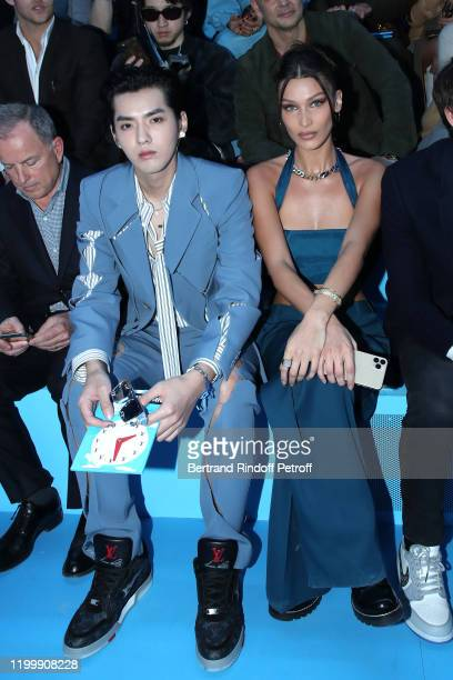 Actor Kris Wu and Model Bella Hadid attend the Louis Vuitton Menswear Fall/Winter 2020-2021 show as part of Paris Fashion Week on January 16, 2020 in...
