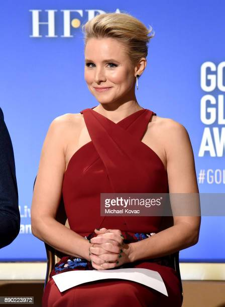 Actor Kristen Bell speaks during Moet Chandon Toasts The 75th Annual Golden Globe Awards Nominations at The Beverly Hilton Hotel on December 11 2017...