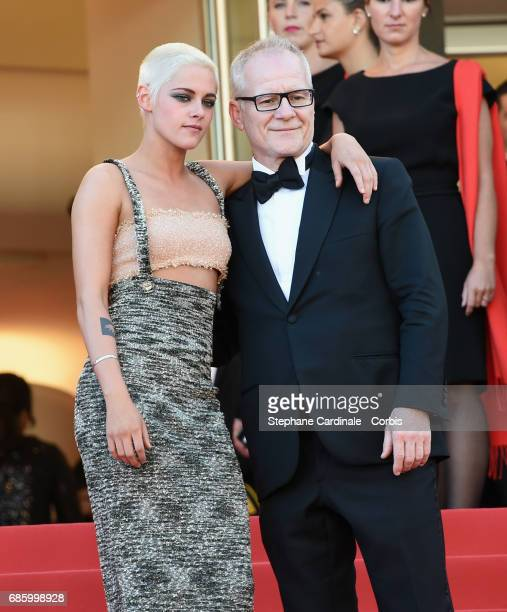 Actor Kristen Stewart and Cannes Film Festival director Thierry Fremaux attend the '120 Beats Per Minute ' premiere during the 70th annual Cannes...