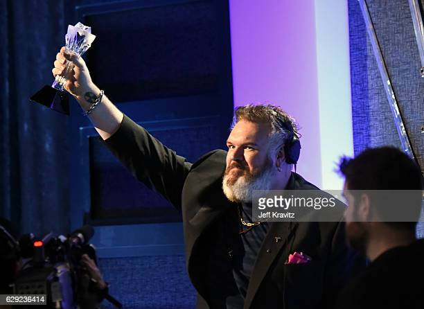 Actor Kristian Nairn accepts the award for Best Television Drama for 'Game of Thrones' onstage during The 22nd Annual Critics' Choice Awards at...