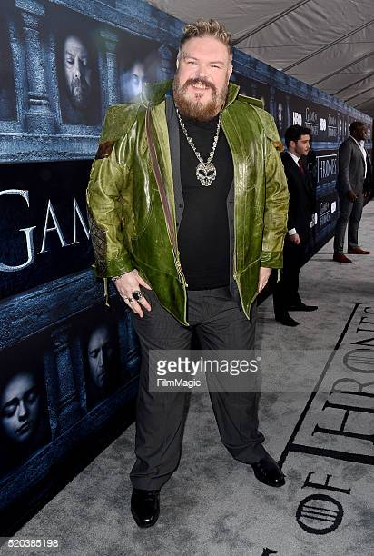 Actor Kristian Nairn attends the premiere for the sixth season of HBO's 'Game Of Thrones' at TCL Chinese Theatre on April 10 2016 in Hollywood City