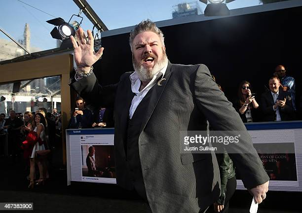Actor Kristian Nairn attends the premiere of HBO's 'Game of Thrones' Season 5 at San Francisco Opera House on March 23 2015 in San Francisco...