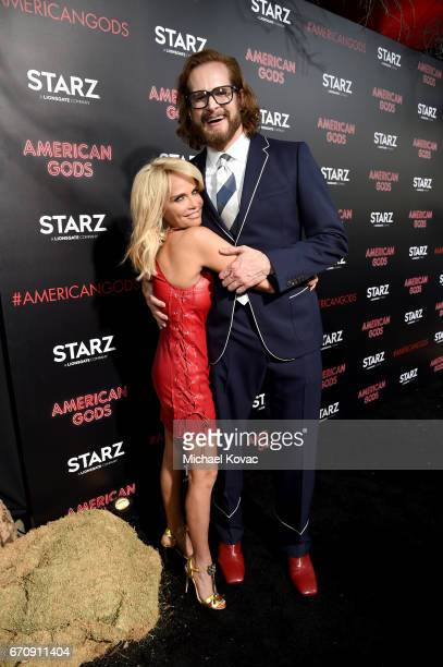 Actor Kristin Chenoweth and Writer/executive producer Bryan Fuller attend the 'American Gods' premiere at ArcLight Hollywood on April 20 2017 in Los...