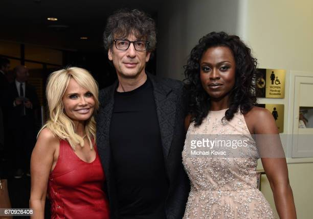 Actor Kristin Chenoweth writer Neil Gaiman and actor Yetide Badaki attend the American Gods premiere at ArcLight Hollywood on April 20 2017 in Los...
