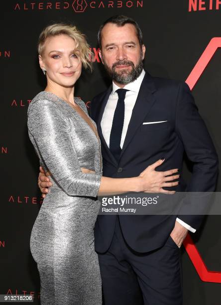 Actor Kristin Lehman and James Purefoy attend the World Premiere of the Netflix Original Series Altered Carbon on February 1 2018 in Los Angeles...