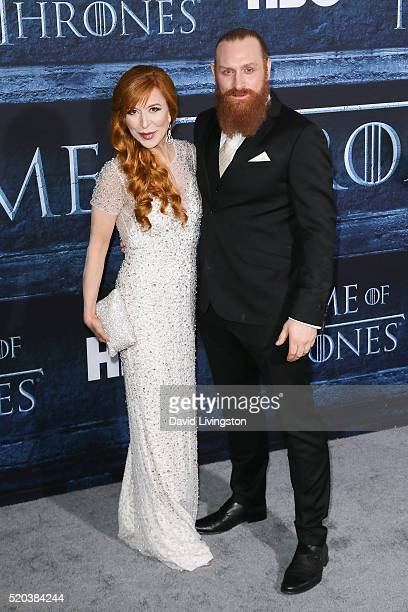 Actor Kristofer Hivju and Gry Molvaer arrive at the premiere of HBO's Game of Thrones Season 6 at the TCL Chinese Theatre on April 10 2016 in...