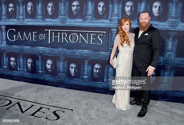 Actor Kristofer Hivju and Gry Molvær attend the premiere of HBO's Game Of Thrones Season 6 at TCL Chinese Theatre on April 10 2016 in Hollywood...